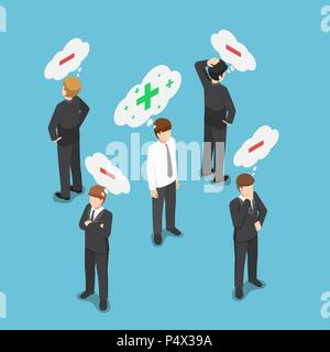 Flat 3d isometric positive thinking businessman in the crowd of negative thinking people. Think positive concept. - Stock Photo