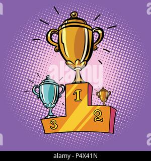 cups winner, first second third place pedestal. Sports champions - Stock Photo