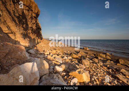 coastal erosion on an isle of wight beach - Stock Photo