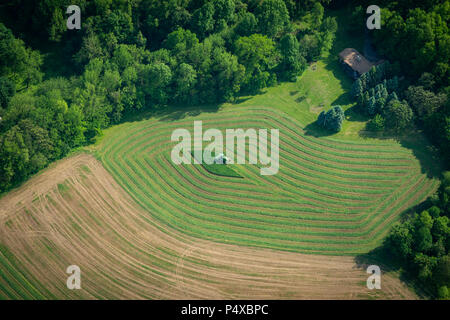 Aerial View Of Farm With Tractor