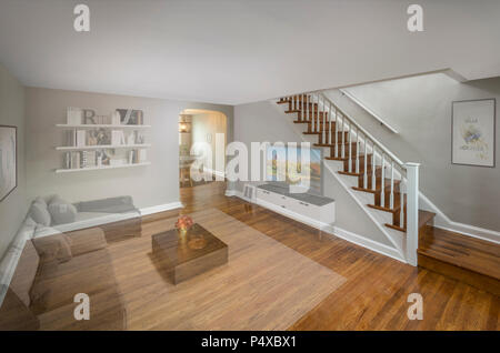 Virtual Staging For Real Estate Sale Faded To Show Post Processing Effect - Stock Photo