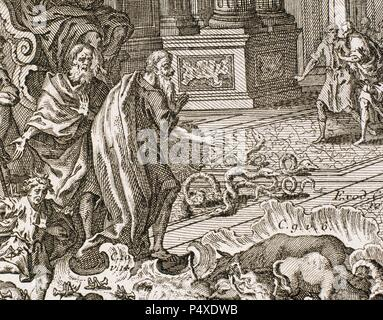 Aaron. High Priest of the Israelites. Aaron throwing her stick, which became in serpent, in front of the Pharaoh. Exodus. Engraving. - Stock Photo