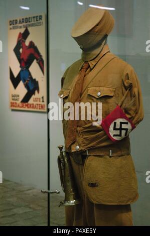 SA (Sturmabteilung) uniform. Nazi paramilitary group. Sachsenhausen concentration camp Museum. Oranienburg. Germany. - Stock Photo