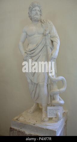 Greek Art. Statue of Asclepius God of Medicine. Museum of Epidaurus. Region of the Peloponnese. Greece.