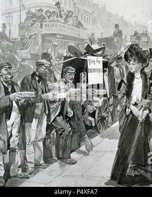 England. Economic Crisis (1903). Unemployed begging for alms on the streets of London. Engraving in L'Illustration '. - Stock Photo