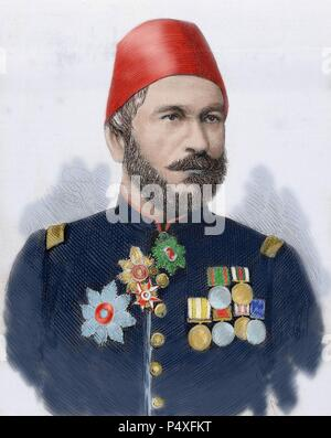 Muhammad Ali Pasha (b. 1829). General in chief of the Turkish army in Bulgaria. Engraving  in' The Spanish and American Illustration' by A. Carrtero, 1877. Colored. - Stock Photo
