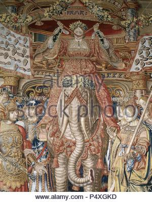 The Honours Series. The Fame Tapestry. Detail. Made in Brussels. 16th century. Tapestry Museum. Royal Palace of La Granja de San Ildefonso. Spain. National Heritage. - Stock Photo
