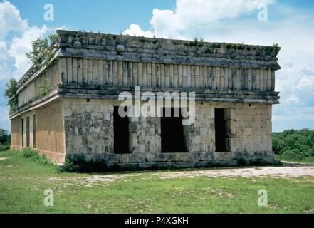 Pre-Columbian Art. Maya. Archaeological Site of Uxmal. The Turtle House. Puuc style. Classical period (625-800).  Yucatan. Mexico. - Stock Photo