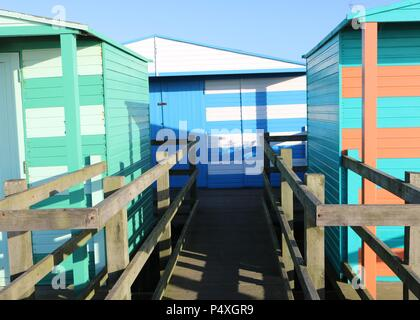 Colourful Beach Huts , Whitstable , Kent - Stock Photo