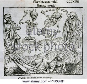 'La Danza de la Muerte' (1493). Ilustración realizada por el pintor y grabador alemán Michael Wolgemut (1434-1519) para la 'Crónica de Nuremberg' (conocida también como 'Historia mundi' o 'Liber chronicarum'), obra del humanista alemán Hartmann Schedel (1440-1514). Grabado. - Stock Photo