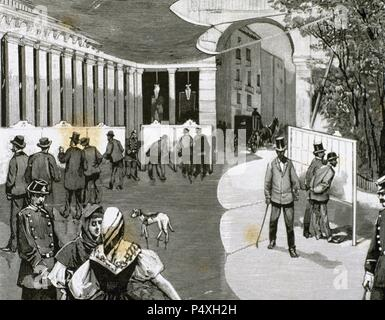 Spain. Madrid. Exhibition of the electoral lists in the May Square, from 31 July to 15 August, 1890. Engraving, 1890. - Stock Photo