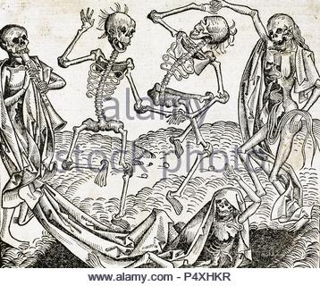 The Dance of Death (1493) by Michael Wolgemut, from the Liber chronicarum by Hartmann Schedel. Engraving. - Stock Photo
