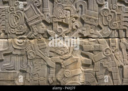 Mexico. Archaeological Site of El Tajin. Founded in the 4th century, achieved its greatest splendor between 800 and 1200. South ballgame court. Relief detail. Near Papantla. Veracruz State. - Stock Photo