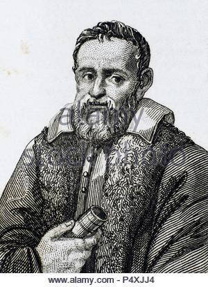 Galileo Galilei (1564-1642). Physicist, Italian mathematician and astronomer. Engraving. - Stock Photo