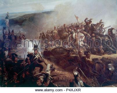 Napoleonic Wars. Russian campaign. Battle of Borodino (september 7, 1812) between French and Russian troops. Oil by Charpentier. - Stock Photo