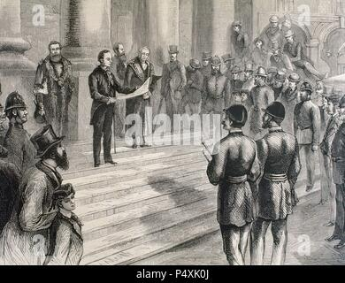 HISTORY OF GREAT BRITAIN. 19th century. LONDON. Official proclamation of Queen Victoria (1819-1901) as Empress of India in the steps of the Stock Exchange. Engraving  in 'The Spanish and American Illustration'. 1876. - Stock Photo