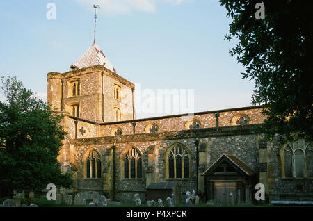 The historic 14th century church of St Nicolas at Arundel, West Sussex, UK, in the early evening, in summer - Stock Photo