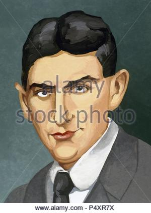 Franz Kafka (1883-1924). Czech writer in German language. Portrait. - Stock Photo