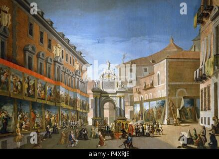 Triumphal Arch of Saint Mary at Main Street by Lorenzo de Quiros. 18th century. Municipal Museum. Madrid. Spain. - Stock Photo