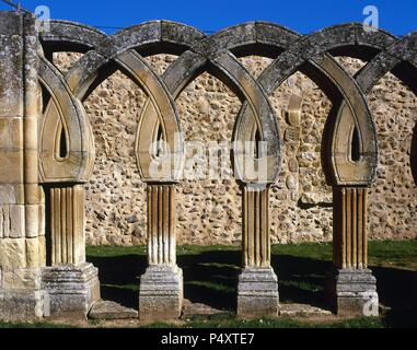 Romanesque Art. San Juan de Duero. View the intertwined arches of the cloister. XIII century. It contains elements of Romanesque, Gothic, Mudejar style and oriental influences. It was declared a National Monument in 1882. Soria. Castile and Leon. Spain. - Stock Photo