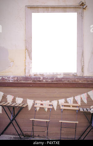 Blank white sign cafe shop bar on the wall outdoors - Stock Photo