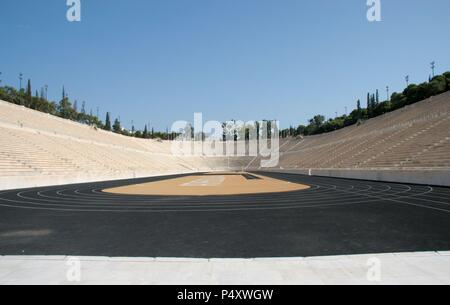The Panathinaiko or Panathenaic Stadium (Kallimarmaron). During Classical times the stadium had wooden seating. I was uset to host the athletic portion of the Panathenaic Games. Was Built in 330 BC by Lykourgos, and it was restored in its present form betwenn 1896 and 1906. Athens. Central Greece. Attica. Eruope. - Stock Photo