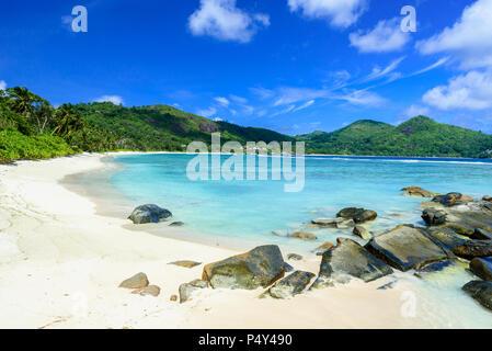 Petite Anse - beautiful beach on island Mahe, Seychelles - Stock Photo