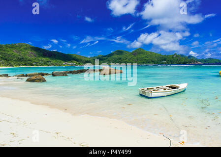 Petite Anse - beautiful beach on island Mahe, Seychelles - Stock Photo