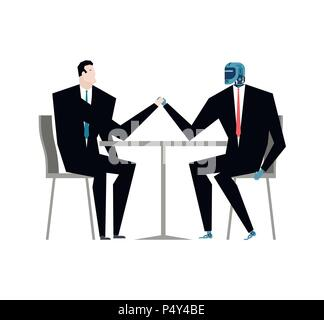 Cyborg and businessman talks. Robot and man at table. Artificial Intelligence. Vector illustration - Stock Photo