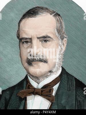 RHODES, Cecil John (1853-1902). English businessman and politician. Colored engraving. - Stock Photo