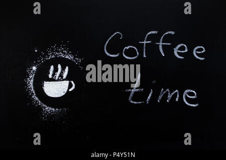 Chalk paint of cup of coffee and words - Coffee time - on chalkboard. Blackboard sign with the phrase. - Stock Photo