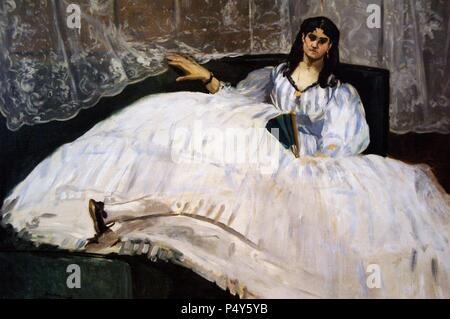 ART XIX century. FRANCE. MANET, Edouard (Paris ,1832-Paris, 1883). Impressionist french painter and engraver. WOMAN WITH FAN, 1862. Museum of Fine Arts. Budapest. Hungary. - Stock Photo