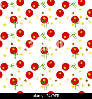 Colorful seamless pattern of golden stars, red balloons, green ribbons on white background. - Stock Photo