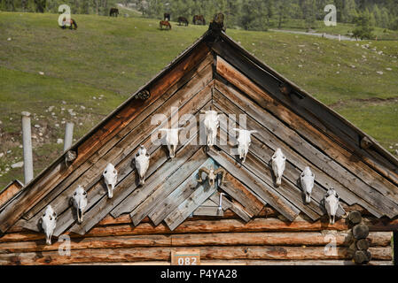 Wood home in ethnic Tuvan village, Kanas Lake National Park, Xinjiang, China - Stock Photo