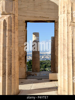 Propylea Column Detail from the Monumental Gateway at the Athens Acropolis - Stock Photo