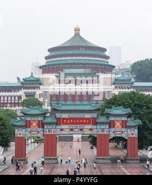 Chongqing, China - June 14,2018 : RenMin Dalitang - People's great hall - in people's square on a foggy day - Stock Photo