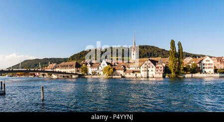 Switzerland, Canton of Schaffhausen, Stein am Rhein, Rhine river, Old town, St. George's Abbey and Hohenklingen Castle - Stock Photo