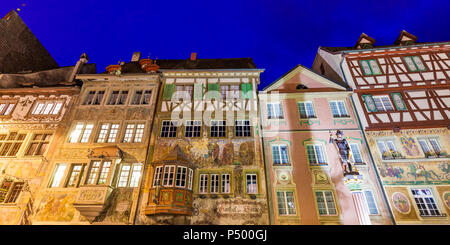 Switzerland, Stein am Rhein, Old town, historical houses at townhall square, fresco paintings, blue hour - Stock Photo