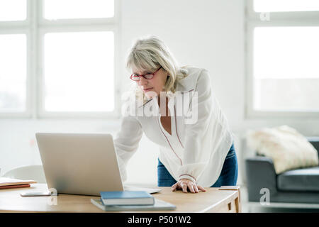 Mature businesswoman working on laptop at desk - Stock Photo