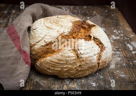 Homemade sourgough rye bread - Stock Photo