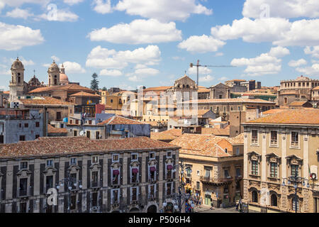 Aerial view of Catania old town and Piazza Duomo (Cathedral square), Sicily, Italy - Stock Photo
