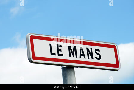 The main sign for the city of Le Mans, France. A town that's famous for  the 24 hour race events that take place each year. - Stock Photo