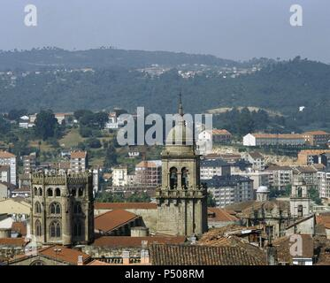 Spain. Galicia. Orense. Dome (15th century) and campanile of the cathedral from the St. Francis convent. - Stock Photo