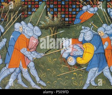 The Hundred Years' War. Conflicts waged from 1337 to 1453 between the Kingdom of England and the Kingdom of France to control the French throne. Bertrand du Guesclin (1320-1380) fighting with the British. Miniature. Chantilly Castle. 14th century. - Stock Photo