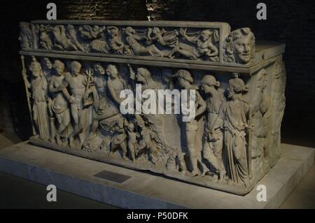 Sarcophagus depicting Dionysus and his wife, Ariadne. Came from the area via Labicana. Dated in the first decade of the 3rd century AD. National Roman Museum. Baths of Diocletian. Rome. Italy. - Stock Photo