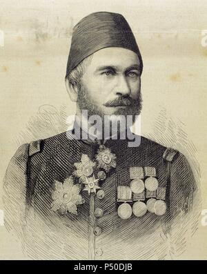 Muhammad Ali Pasha (b. 1829). General in chief of the Turkish army in Bulgaria. Engraving by Arturo Carretero Sanchez (1852-1903) in The Spanish and American Illustration, 1877. - Stock Photo