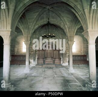 Gothic art. Spain. Monastery of la Oliva (twelfth century). Interior of the chapter house with vault resting on Romanesque capitals. Declared a National Monument. Carcastillo. Navarre. - Stock Photo