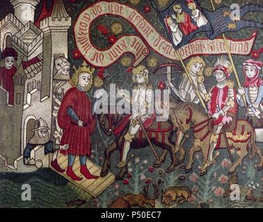 Charles VII of France receiving Joan of Arc at the Castle of Chinon. 1429. German tapestry. Episode of the Hundred Years War (1337-1453). Museum of Orleans. France. - Stock Photo