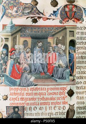 Alfonso IV of Aragon called 'the kind' (1299-1336). King of Aragon and count of Barcelona as Alfonso III, from 1327 to his death. Son of James II and Blanche of Anjou. Folio of 'Codex of the Usages' depicting  the Catalan Parliament assembled in Montblanc on 18 June, 1333 under the chairmanship of the king. Paeria Municipal Archives. Lleida. Catalonia. Spain. - Stock Photo