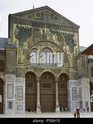 Syria. Damascus. Umayyad Mosque or Great Mosque of Damascus. Built in the early 8th century. South entrance decorated with mosaics. - Stock Photo